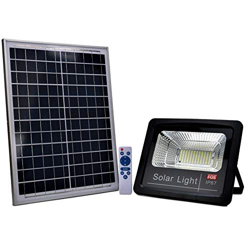 FOS Solar LED Flood Light 100W with Remote Control - Cool White 6500k (IP 65 Water-Proof)